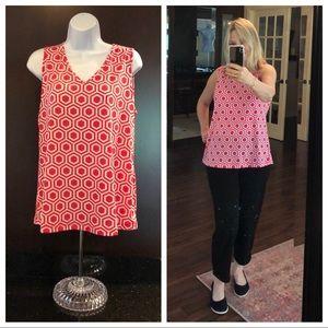 🎈3/$15 SUSAN GRAVER hot pink white geometric tank